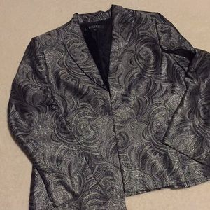 Tahari metallic black and silver blazer.